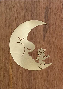 Jobin Muziekdoos 18-tonen messing decoratie maan met engeltje